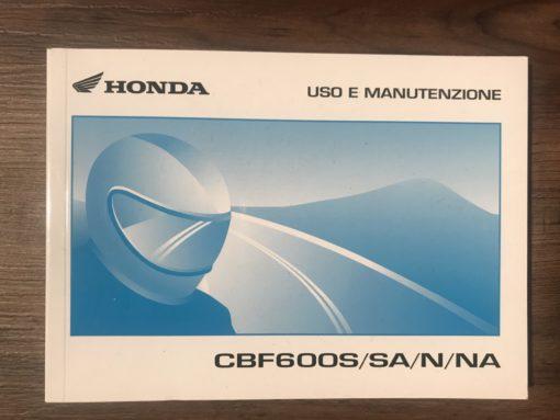 39MERA10 CBF600S/SA/N/NA HONDA USO E MANUTENZIONE